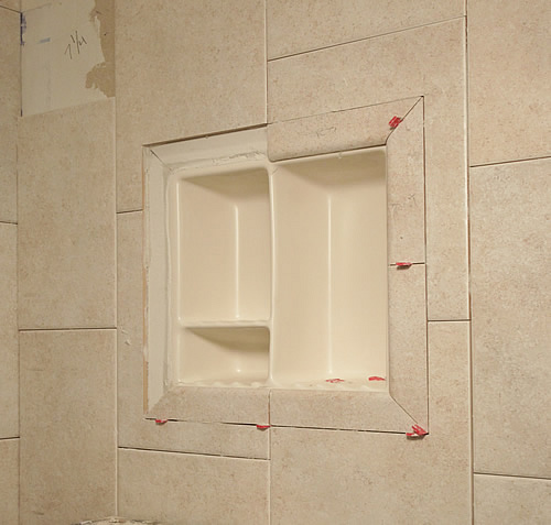 recessed shower shelf recessed wall niche for a shower. Black Bedroom Furniture Sets. Home Design Ideas