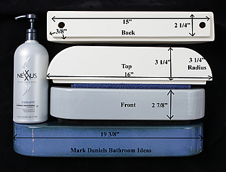 rounded shower shelf measurements